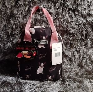 BETSEY JOHNSON DOG LUNCH TOTE BLACK & PINK